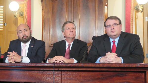 House Speaker Cliff Rosenberger (R-Clarksville), Gov. John Kasich and Senate President Larry Obhof (R-Medina) appear together for Kasich's budget cutback announcement in April 2017.
