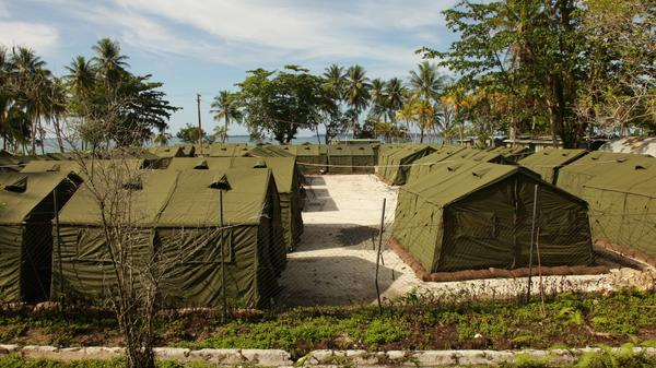 A handout photo from the Australian Department of Immigration and Citizenship shows the detention camp at Manus Island in 2012. Some asylum-seekers are heading to the U.S. for resettlement.