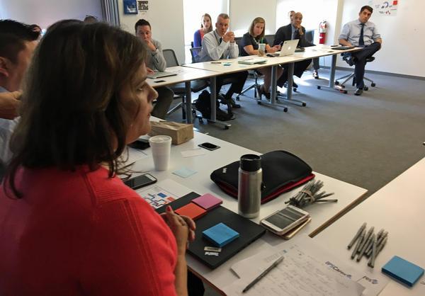 Sonia Gomez-Banrey at Thursday's meeting. (Max Larkin/WBUR)