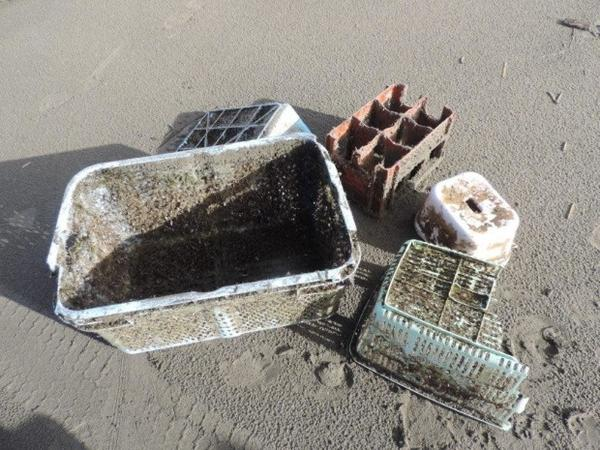 <p>Non-biodegradable items from the 2011 Japanese earthquake and tsunami that were found by Oregon State University researchers along the coast of Oregon.</p>