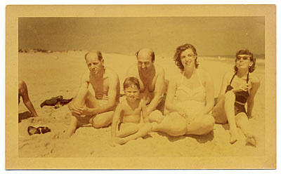 Jackson Pollock and Lee Krasner pose on the beach with Helen Frankenthaler and Clement Greenberg, circa 1952.