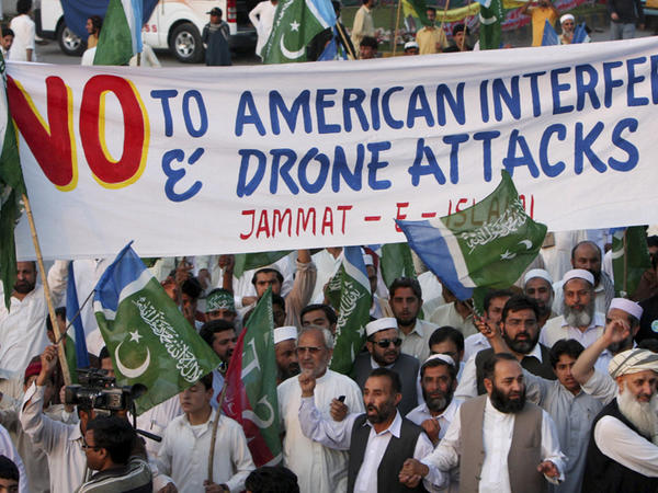 Supporters of the Pakistani religious party Jamaat-e-Islami protest in Peshawar, Pakistan, against U.S. drone strikes in the country's northwest in April. The drone attacks have further fueled anti-American sentiment in Pakistan.