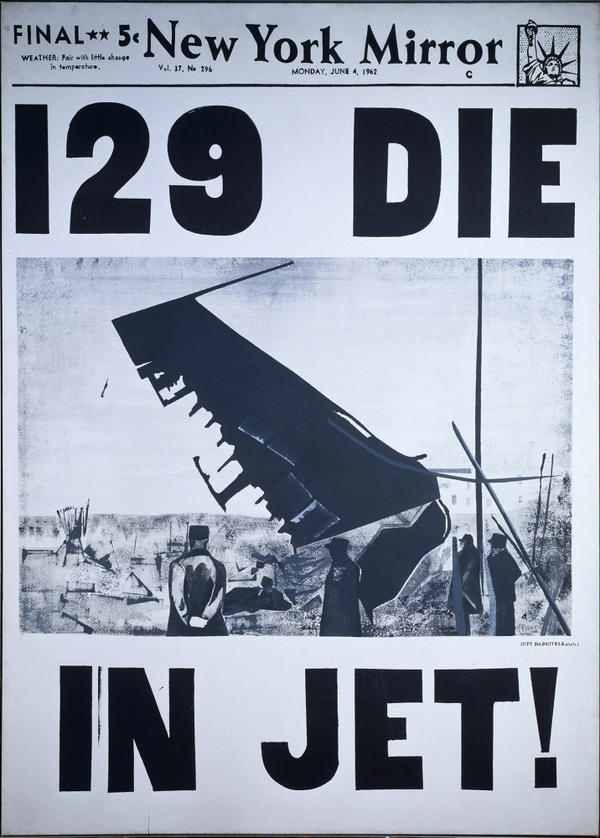 "At 100 inches tall, Warhol's ""129 Die in Jet"" reflects one of the artist's central obsessions — death and disaster as reflected in the media."