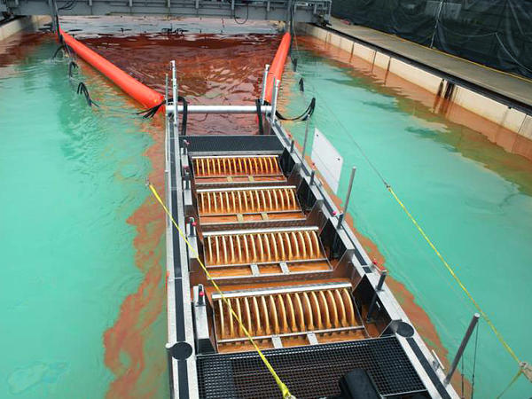 <p>In a large tank set up to test oil-skimming devices, rows of spinning plastic disks separate oil from water.</p>