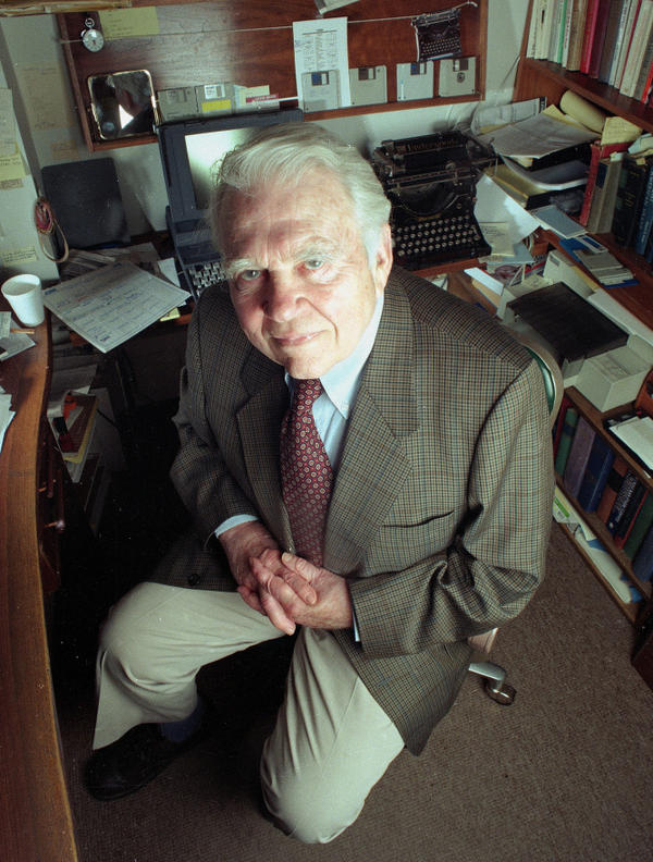Journalist Andy Rooney<em></em> poses in his office at CBS in New York City on June 19, 1998. Rooney delivered his first <em>60 Minutes</em> commentary on July 2, 1978.