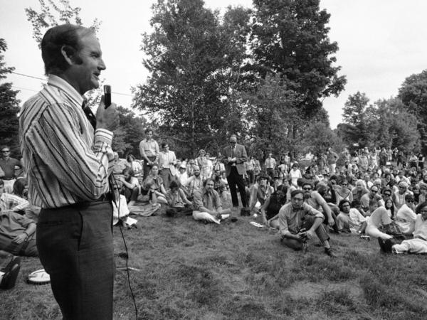Sen. George McGovern speaks to a crowd in Vermont in 1971. Many baby boomers started out with liberal politics; now their views are harder to pin down.