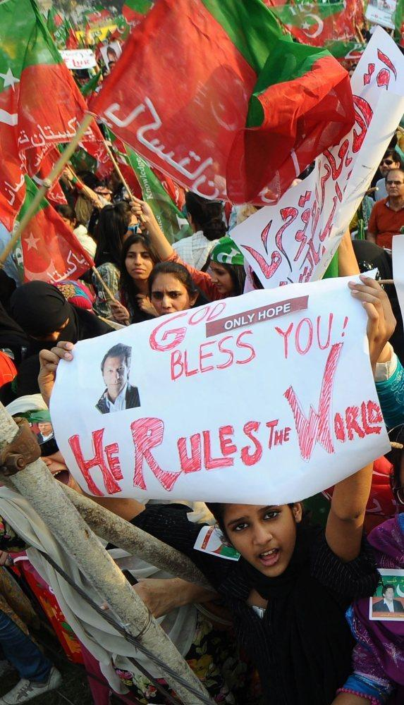 Khan's supporters, shown at rally in Lahore last month, enthusiastically back his anti-corruption message.