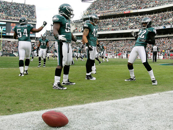 <strong>End Zone Dance:</strong> Asante Samuel (22, right) celebrates a touchdown after making an interception, as his Philadelphia Eagles teammates seem to wait for cues to the next dance steps, Nov. 13.
