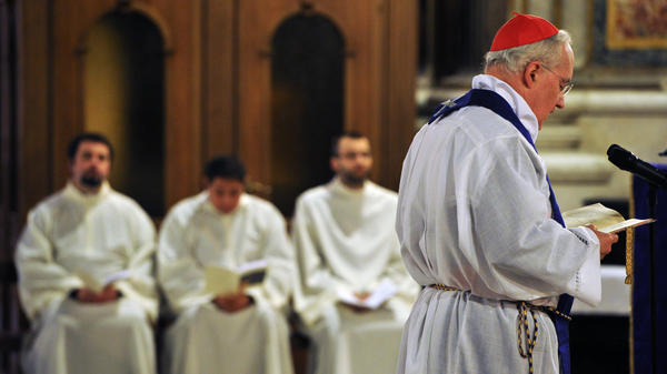 Cardinal Marc Ouellet presides over a penitential Mass at St. Ignatius Church in Rome on Tuesday. The Mass, which asked for the forgiveness of victims of clerical sexual abuse, was part of a Vatican-backed symposium addressing the scandal of pedophile priests and the church culture that enabled such abuse to take place.