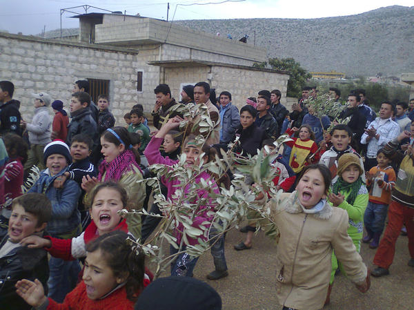 Demonstrators take part in a protest against Syria's President Bashar Assad in the Syrian city of Jisr al-Shughour, while holding olive branches to show support for the city of Homs, Feb. 9.