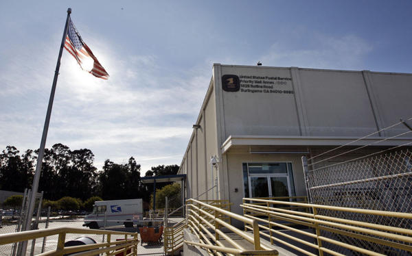 The exterior of a Burlingame, Calif. U.S. Postal Service mailing processing center that has been approved for full consolidation.