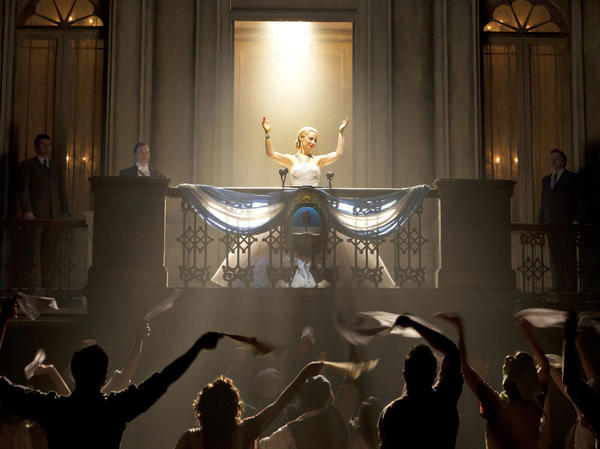 Ricky Martin, Elena Roger, and Michael Cerveris star in the revival of Rice and Lloyd Webber's <em>Evita,</em> directed by Michael Grandage.