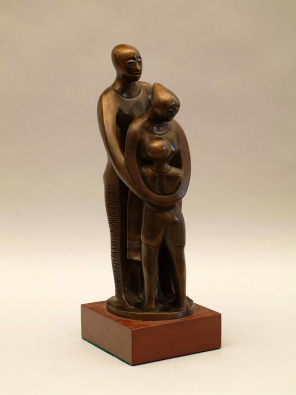 Elizabeth Catlett's bronze statue titled <em>Family</em>
