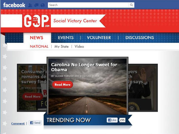 """An image from the Republican National Committee's Facebook """"Social Victory Center"""" app."""