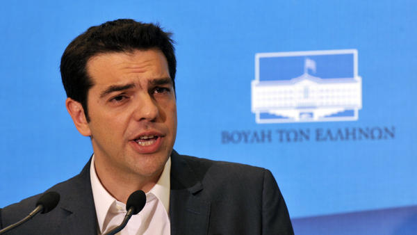 Alexis Tsipras, leader of the Coalition of the Radical Left, or Syriza, speaks to the press in Athens on Tuesday, May 8, after the Greek president gave him a mandate to form a government. Tsipras has three days to put together a coalition. An attempt by a conservative party has already failed.
