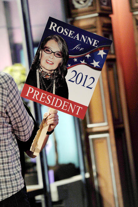 Roseanne Barr announces she is a candidate for president on The Tonight Show with Jay Leno at the NBC Studios in 2011. Barr says she is the candidate of the Green Tea Party.