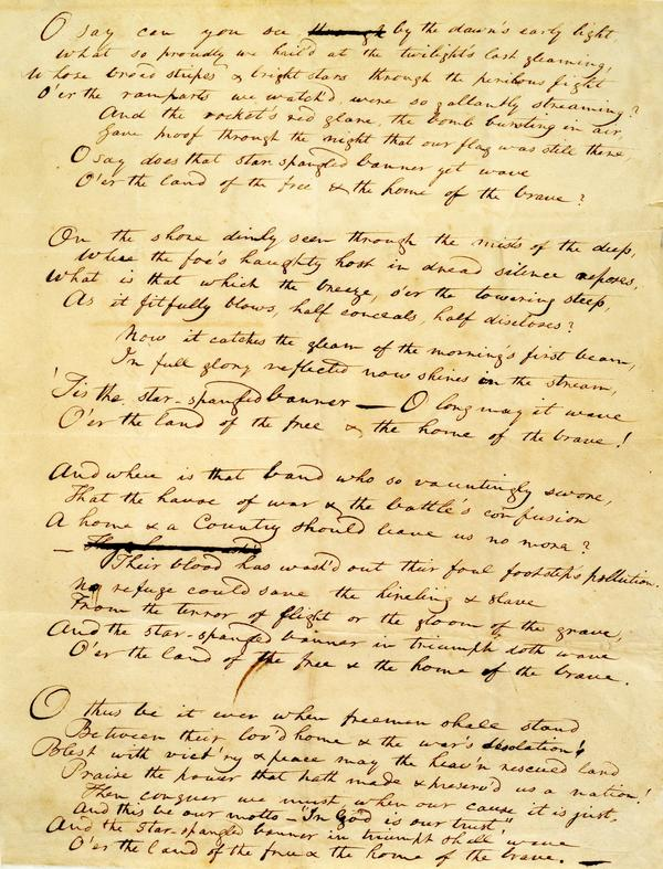 """The Star-Spangled Banner"" handwritten manuscript by Francis Scott Key, 1814."