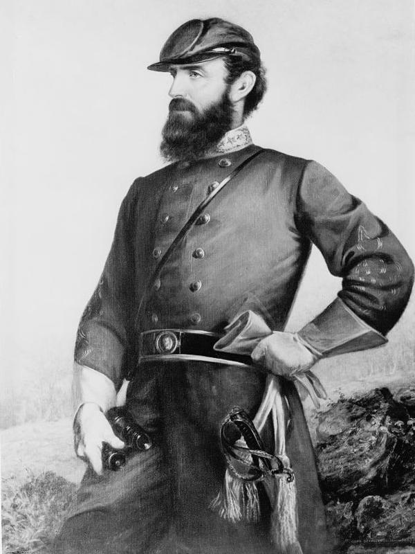"""Gen. Thomas """"Stonewall"""" Jackson's body is buried in Lexington, Va. But his left arm is buried more than 100 miles away in Chancellorsville, Va., where the limb was amputated after a Civil War battle in 1863."""