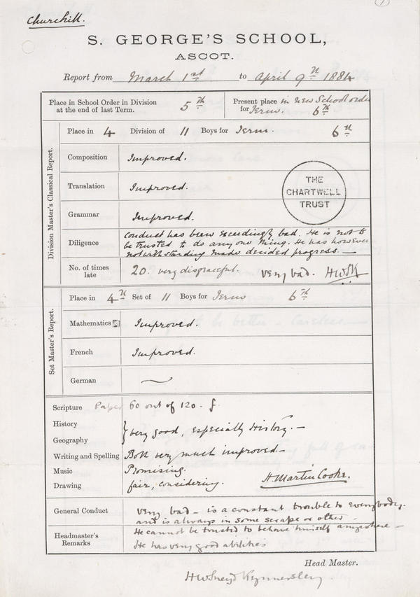 "Though he went on to win the Nobel Prize in Literature, Churchill didn't always excel in school. His 1884 school report card states young Winston is ""very bad ... a constant trouble to everybody,"" and unable to be ""trusted to behave himself anywhere."" <a href=""http://media.npr.org/assets/img/2012/07/13/school-report_char-28-044-007_custom.jpg"">Click to enlarge.</a>"