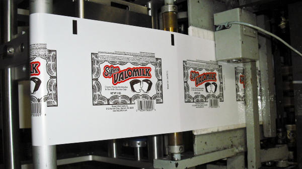 More than one million Valomilk packs pass through the Russell Sifers Candy Company's wrapping machine each year.