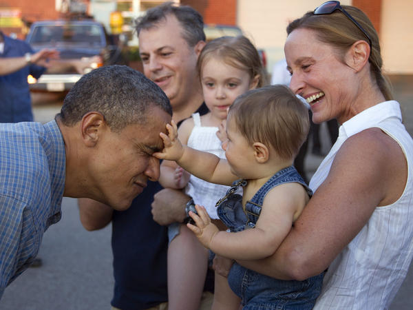 President Obama gets a face inspection at the Iowa State Fair last week in Des Moines.