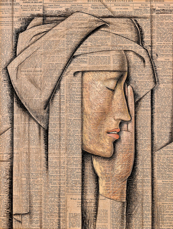 Alfredo Ramos Martinez painted <em>Head of a Nun</em>, tempera on newspaper, in 1934.
