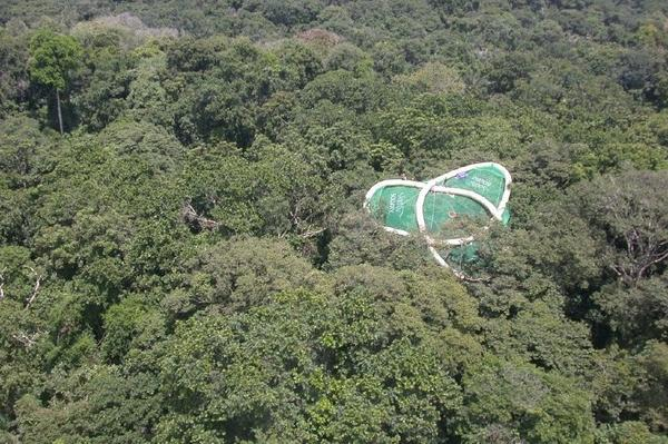 A helicopter placed this inflatable tree raft in the forest canopy in Panama.