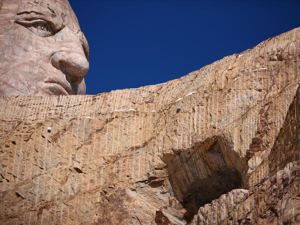 When completed, the Crazy Horse mountain carving will be 641 feet long by 563 feet high.