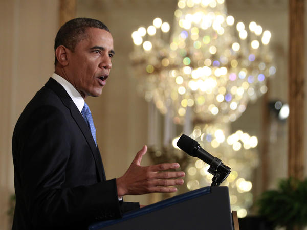 President Obama speaks during his news conference in the East Room of the White House on Monday.