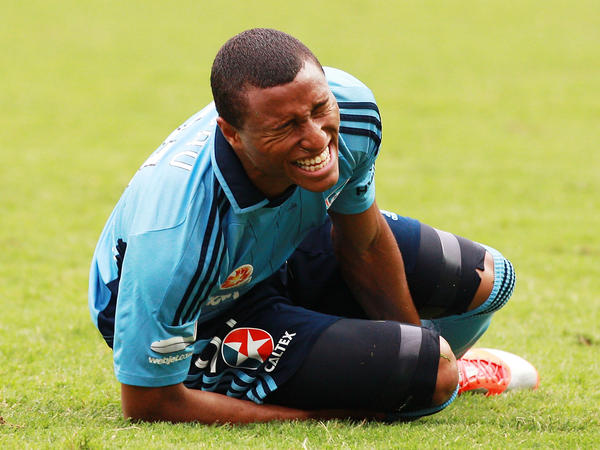 "The face says it all: Yairo Yau grimaces during a December 2012 match between <a href=""http://www.footballaustralia.com.au/sydneyfc/"">Sydney FC</a> and the Melbourne Heart in Sydney."