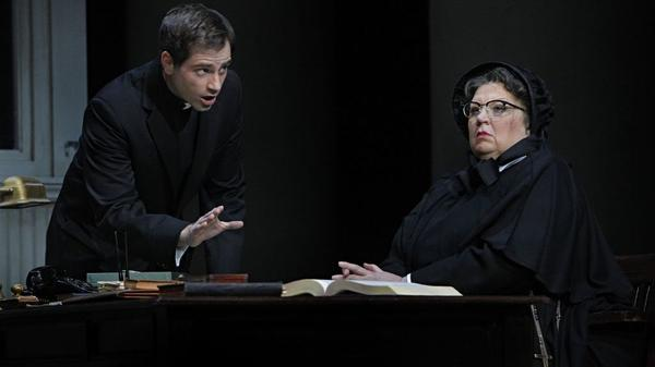 In the operatic version of <em>Doubt</em>, Father Flynn (Matthew Worth) must defend his name after a suspicious Sister Aloysius (Christine Brewer) accuses him of sexually abusing an altar boy.