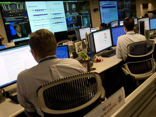 Homeland Security analysts watch for threats to U.S. technological infrastructure at the National Cybersecurity and Communications Integration Center.