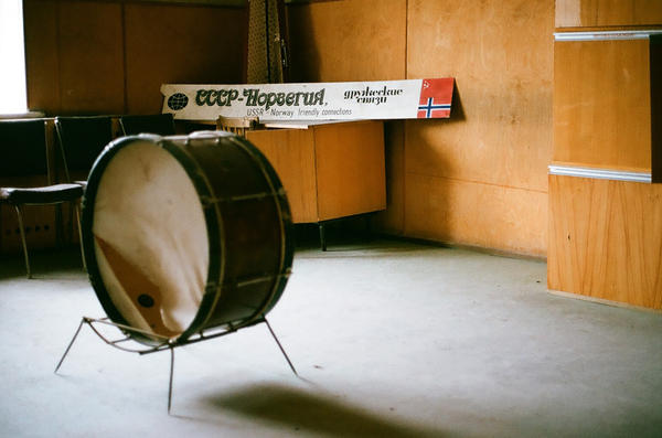 A broken drum, one of the artifacts left behind by Piramida's residents that was actually intended to be a musical instrument.