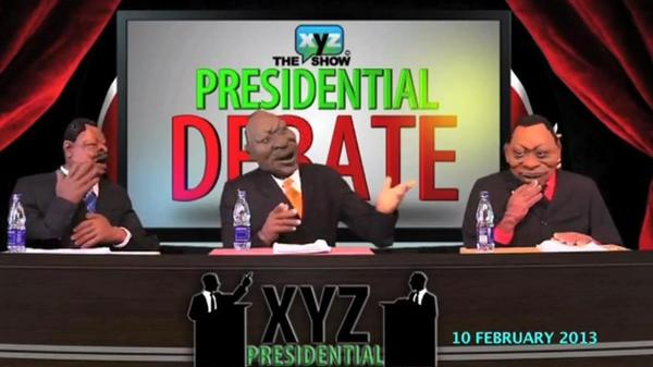 In this screengrab, three puppets debate one another on <em>The XYZ Show</em>'s presidential debate, which aired in February.