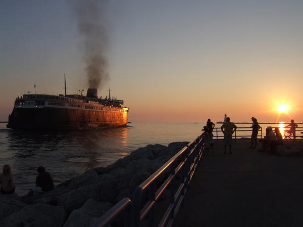 The Badger pulls out of the Ludington harbor for its four-hour journey to Manitowoc, Wis.