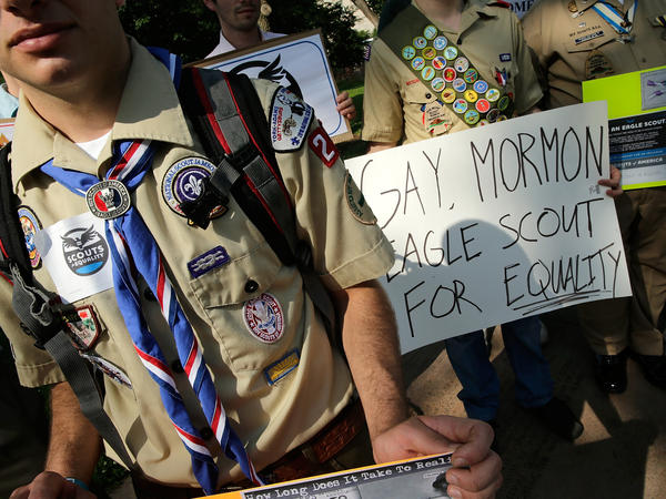 Members of Scouts for Equality hold a rally to support inclusion for gays in the Boy Scouts of America on Wednesday.