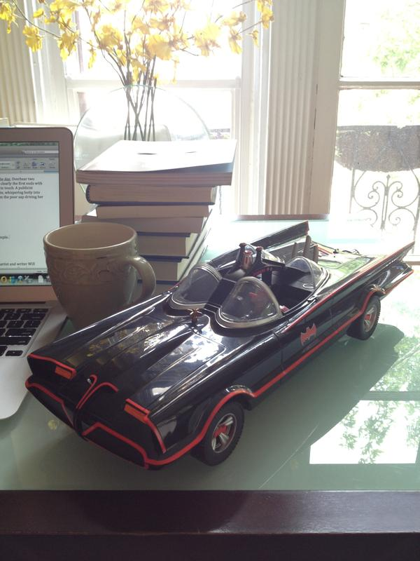 A model of the Batmobile from the 1960s live action <em>Batman </em>television show, starring Adam West and Burt Ward.