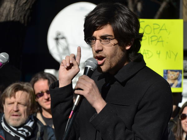 Internet activist Aaron Swartz at a rally in January 2012.