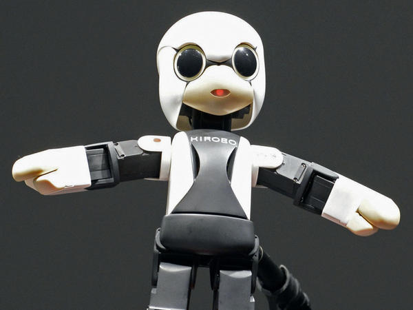 Kirobo, a small talking humanoid robot, is unveiled by a team of Japanese researchers in Tokyo on June 26.