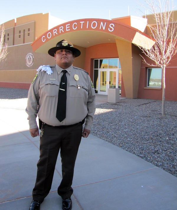 Tuba City, Ariz., corrections supervisor Robbin Preston in front of the new jail on the Navajo Nation. The recidivism rate was so high, Preston couldn't keep track of it.