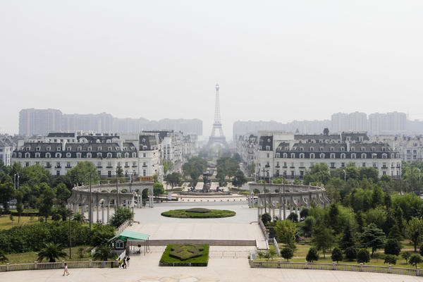 Sky City, a replica of Paris, is a 40-minute drive from Hangzhou in China's Zhejiang province. The rich people developers hoped would move here never materialized.
