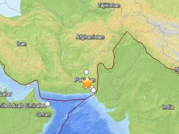 A U.S. Geological Survey map showing the location of Tuesday's earthquake in Pakistan.