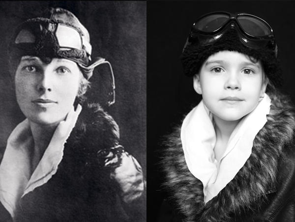 Photographer Jaime Moore re-created portraits of famous women from history starring her daughter, Emma. Here, Emma poses as Amelia Earhart.