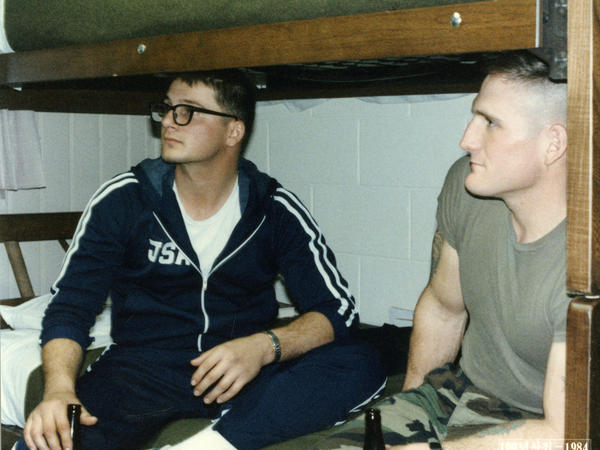 Mark Deville (left) shown at about the time of the firefight. At right is Sgt. Rick Lamb, who was Deville's squad leader.
