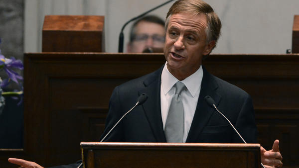 Tennessee Gov. Bill Haslam delivers his State of the State address to a joint session of the General Assembly on Monday in Nashville, Tenn. In the speech, he proposed spending the state's lottery money on free community college education for those in need.