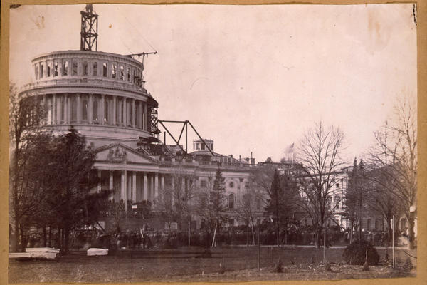 A view of the dome during the inauguration of Abraham Lincoln on March 4, 1861. By Lincoln's second inauguration, the dome was finished.