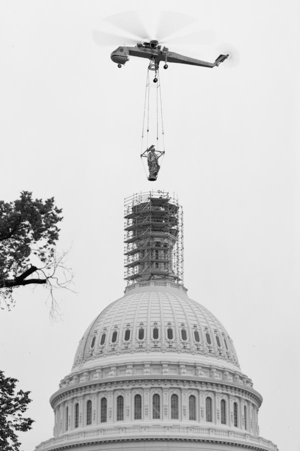 In 1993, the Statue of Freedom was airlifted off the dome for restoration after almost 130 years atop the Capitol.