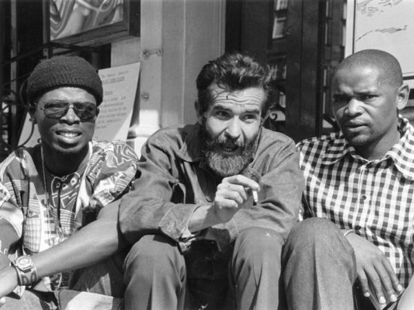 Fugard sits with South African actors John Kani (left) and Winston Ntshona at the Royal Court Theatre, where they staged <em>Sizwe Bansi Is Dead</em> in September 1973.