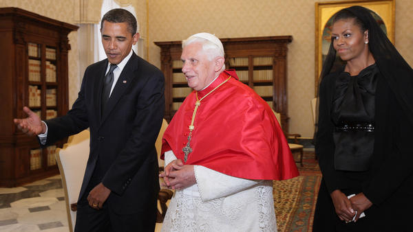President Obama and Michelle Obama meet Pope Benedict XVI at the Vatican in 2009. The president will meet Pope Francis at the Vatican on Thursday.