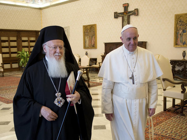 Pope Francis meets Bartholomew I, the first ecumenical patriarch to attend the installation of a pope since 1054, at the Vatican on March 20, 2013.